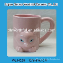 Taza popular de cerámica del zorro rosado