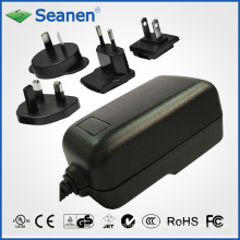 24-Watt-Netzteil mit austauschbaren AC-Steckern für mobiles Gerät, Set-Top-Box, Drucker, ADSL, Audio & Video oder Haushaltsgerät