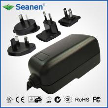 Adaptador CA de 24 watts com plugues AC Interchangeble para dispositivo móvel, Set-Top-Box, Impressora, ADSL, Áudio e Vídeo ou Eletrodomésticos