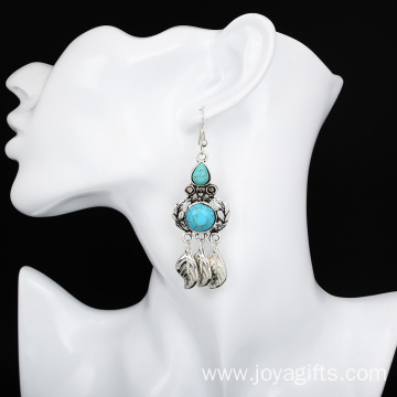 Leaves Tassel Earrings Female Turquoise Jewelry wholesale