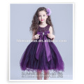New fashion one piece baby girl princess evening dress purple color flower ball gown baby girl party dress