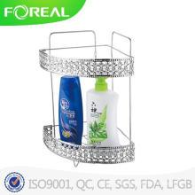 Prateleira de canto de banheiro de 2-tiros de metal anti-oxidada