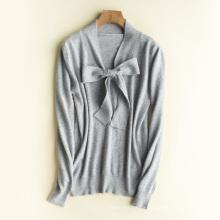 Suéter de la camiseta de la cachemira de la lana del lazo de la mariposa PK18ST100