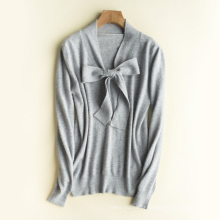 PK18ST100 gravata borboleta lã cashmere camisola mulher camisola T-shirt