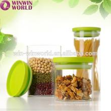 Couvercle en plastique promotionnel de stockage de noix de nourriture en verre promotionnel BPA