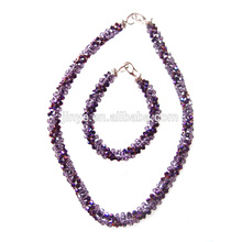 Bling Fashion Bling Purple Crystal Statement Necklace Set