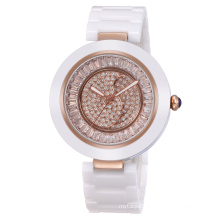 2016 hot selling high quality ceramic band rotating dial watch with shining diamond