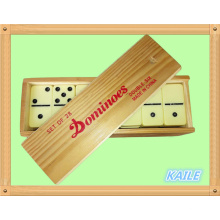Double 6 high light black domino set with wooden box