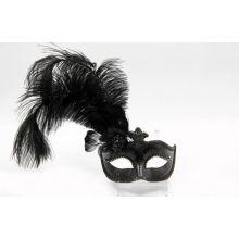 """Colombina White Feather Masquerade Masks 12"""" For Masquerade Balls"""