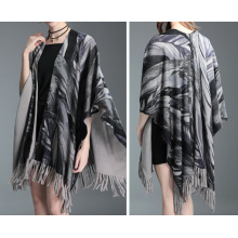 Womens Cardigan Wraps Winter gestrickte Blätter Printing Pullover Poncho Schal (SP621)