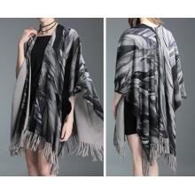 Cardigan para mujer envuelve chal de poncho de invierno con estampado de hojas de punto (SP621)
