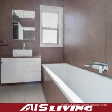 Armários brancos do banheiro da laca com vaidade do espelho das gavetas (AIS-B013)