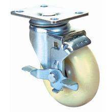 Swivel Nylon Caster with Side Brake (White)