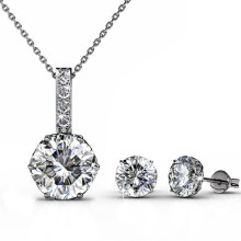 High Quality Vintage Royal Crystal Jewelry Set Crown Setting Earrings and Necklace Set