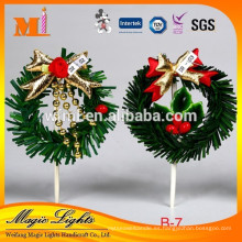 2017 nuevas decoraciones al por mayor del partido de las decoraciones de la torta del plástico de Navidad de China