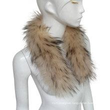 Women's Detachable Raccoon Fur Collar Scarf Shawl for Winter Coat