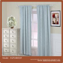 Diseño clásico estilo americano Azul turquesa ojales impresos cortina de limpieza cortinas