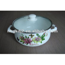 enamel cookware set with glass lid