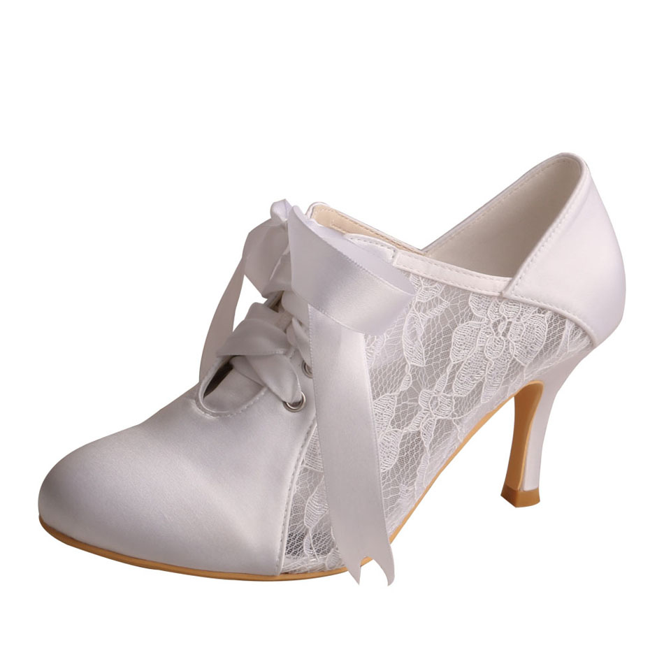 Ivory Lace Up Wedding Booties For Bride
