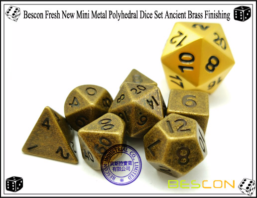 Bescon Fresh New Mini Metal Polyhedral Dice Set Ancient Brass Finishing-6