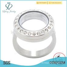 Art und Weise 20mm silberner Kristallmagnet-Edelstahl-schwimmender Charme-Sperrring-Ringentwurf