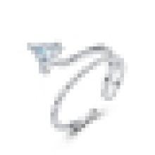Anillo de apertura de triángulo de plata de ley 925 para mujer