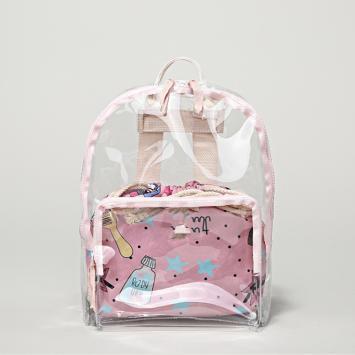 Pink transparent cartoon print backpack