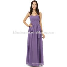 Mais recente moda artesanal comprimento do chão longo design sólido vestido de noite roxo