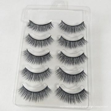 5 paires Échantillons gratuits personnalisé marque privée cheveux humains pas cher vente coloré faux cils