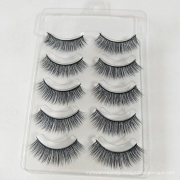 5 pair Free samples custom private label human hair cheap sale colorful false eyelashes