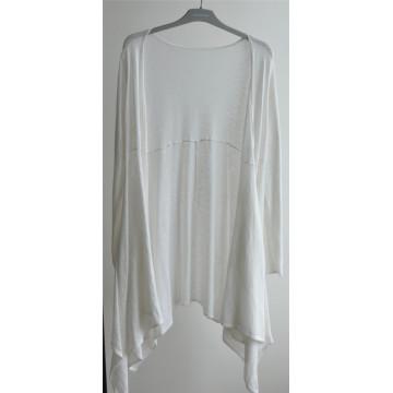 100% Algodão Mulheres Longline Open Pure Color Knit Cardigan