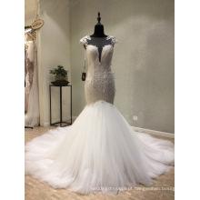 Vestido de noiva nupcial de lantejoulas de renda de alta qualidade