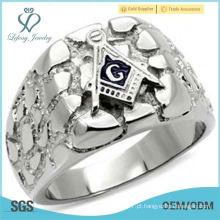 Freemason maçônico equipa anel de pepita de prata