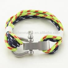 Venta al por mayor pulseras de cuerda náutica de la pulsera del grillete del acero inoxidable de la manera con hecho a mano
