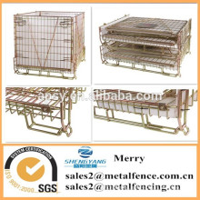 supermarket equipment heavy-duty metal collapsible large secure wire mesh container cage