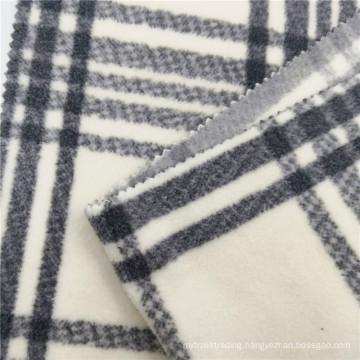 100% Polyester Checked Printed Polar Fleece Clothes Fabric