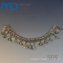 Chaussures accessoires de chaîne décoratifs avec pendentif en forme de neige et perles de cristal pour sandales et pantoufles d'été pour femmes