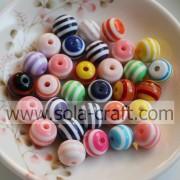Mixed Colors 10MM Wholesale Loose Striped Plastic Resin Cheap Jewelry Beads Fit European Charm Bracelet