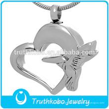 Venta al por mayor forma de corazón cremación joyas ceniza colgante collar de urna