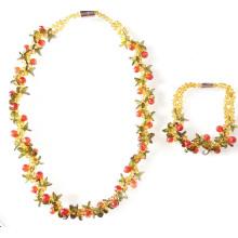 Conjunto de joyas de pulsera Neklace frutal con circonita rebordeada de colores Chunky