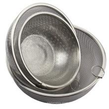 Utensilios de cocina de acero inoxidable con colador de malla de malla redonda colador con mango