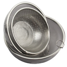 stainless steel kitchenware round mesh basket strainer colander with handle