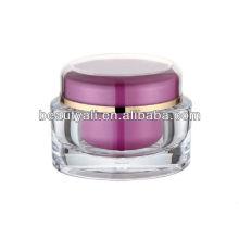 Recipiente plástico acrílico oval do cosmético