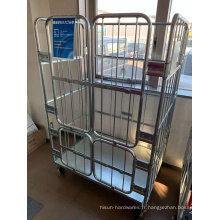 Chariot de cage de rouleau logistique en acier métallique de blanchisserie