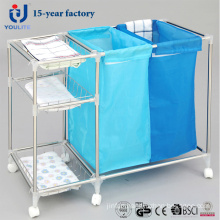 Multi-Fuction Stainless Steel Mobile Laundry Basket