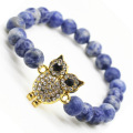 Sodalite Gemstone Beaded Bracelet with Alloy Owl