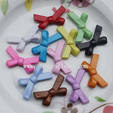 Solid Colors Bowtie Ribbons Plastic Charm Beads