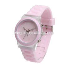 girl fashion transparent silicone watch pink strap