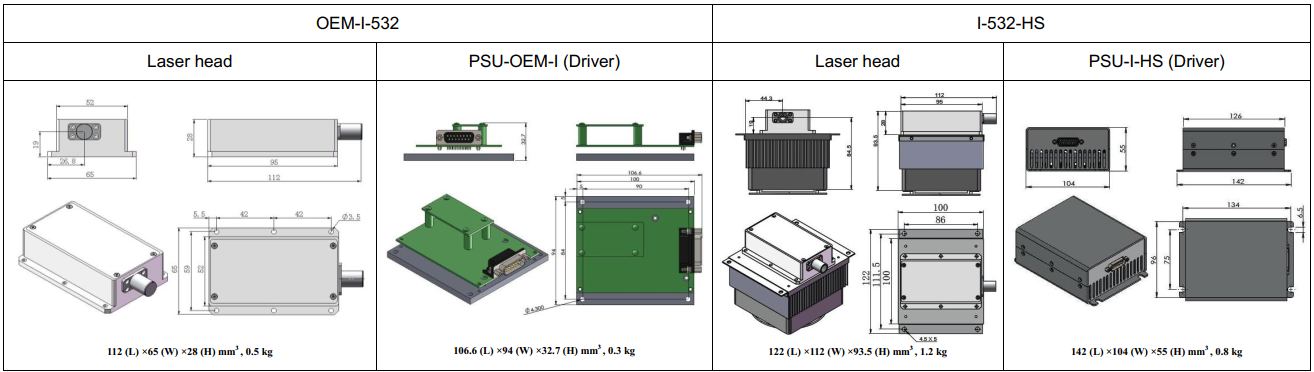 dimensions of 532nm ultra compact laser