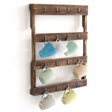 Wall Mounted 16 Hook Torched Wood Coffee Mug Cup Holder Display Rack